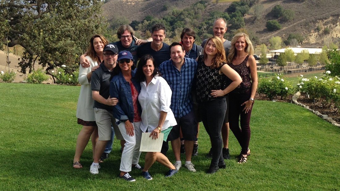 A group shot of friends on a private wine tasting tour.