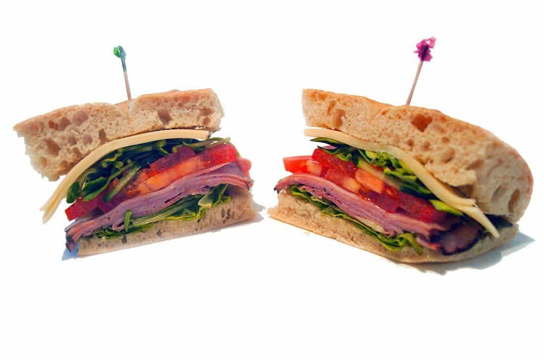Black Forrest Ham Sandwich: fresh foccacia with swiss cheese, lettuce, tomato, sprouts, carrots, and cucumbers.