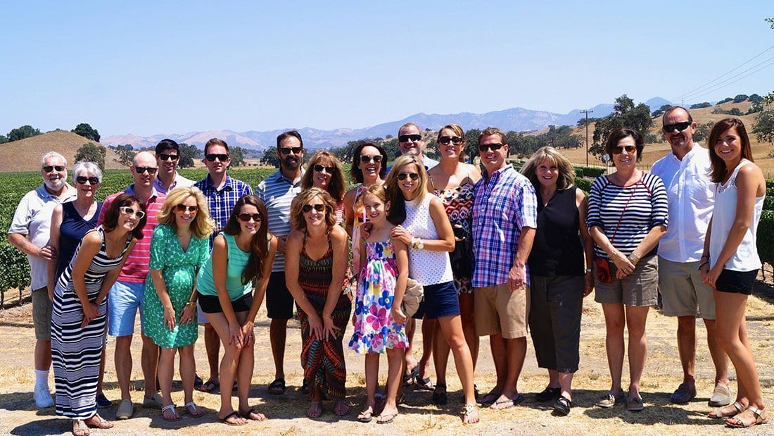 A group who gathered for a wedding took a wine tour as part of the weekend fun.