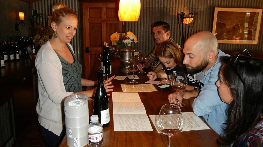 A group tasting enjoying the current vintage of wines.